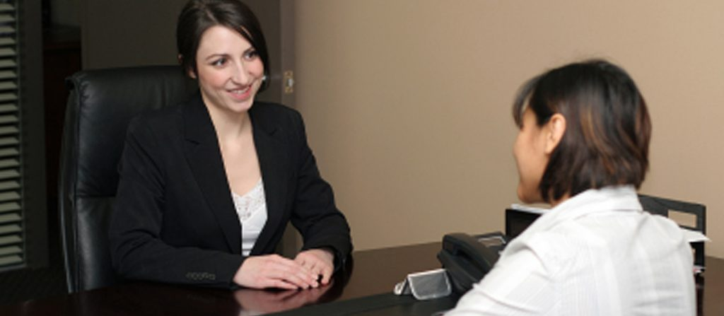 two women at business meeting